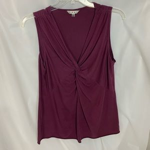 Cabi Burgundy Twist Front Layering Top Shirt XL